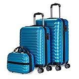 NEWTECK - Gepäck-Set und Kulturbeutel 3 Stück Blau, mittel 63cm, klein 53cm und Kulturbeutel, ABS, starr, widerstandsfähig, 4 Doppelräder, leicht, seitliches Kombinationsschloss