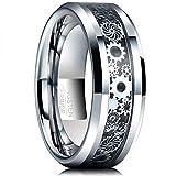 Natur Fashion - Ring Wolfram Herren Silber-Schwarz 8mm mit Zahnrad Design als Trauring Partnerring Lebenspartnerschaft Verlobungsring Größe 59