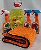 HCR Hygiene Autoreinigungs-Set 5-teilig Cockpitspray, Felgenreiniger, Insektenentferner, Scheibenreiniger, Mikrofasertuch