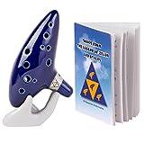 Deekec Zelda Ocarina 12 Loch Alt C mit Liederbuch (Songs From the Legend of Zelda) mit Aufsteller Schutztasche