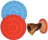 Haploon Hundeleckmatte, Puzzle-Leckmatte für Hunde, Baden und Fellpflege, langlebiges Silikon, für langsames Füttern, Ablenkungsgerät mit 37 Saugnäpfen (blau und rot)