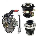GOOFIT 42mm Luftfilter und Motorrad PD24J 24mm Vergaser Ansaugstutzen Ersatz für GY6 125cc 150CC Go Kart Moped- und Roller