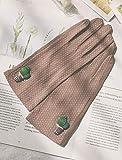 Loe Handschuhe Frauen atmungsaktive Baumwolle Handschuhe Thin Sunscreen Nette Handschuhe schweißabsorbierend Anti-Blockier-System Fahren und Reithandschuhe (Color : Braun)