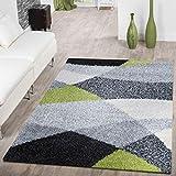 T&T Design Moderner Hochflor Teppich Shaggy Vigo Gemustert in Schwarz Grau Weiß Grün Top Preis!!, Größe:140x200 cm