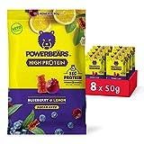 Powerbeärs High Protein Gummibärchen ohne Zucker - 8x50g Gummibären mit Protein und Vitamin C - Fruchtgummi Geschmack: Heidelbeere & Zitrone
