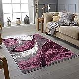 Teppich im modernen Stil, künstlerischer einzigartiger Teppich, weicher Kurzflor, Wohnzimmerteppich, rutschfest, groß für Flur, Schlafzimmer (lila, 80 x 150 cm)