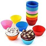 Muffinförmchen, Muffin Cup, wiederverwendbar, hochwertiges Silikon, umweltschonend, BPA-frei - Cupcakeförmchen, Backförmchen Muffin Form, 8 Farben, 24er-Set