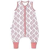 Premium Baby Schlafsack mit Füßen Sommer, Bequem & Atmungsaktiv, 100% Bio-Baumwolle, Oeko-TEX Zertifiziert, Flauschig, Bewegungsfreiheit, 1.0 TOG von emma & noah (Rauten Rosa, 110 cm)