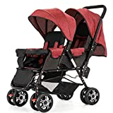 LOMJK Standardkinderwagen Kann sitzen Geschwisterwagen mit abnehmbaren Canopy liegen können Kinderwagen, beweglichen Tandem-Spaziergänger mit Moskito-Netz-Falten Baby Kinderwagen Buggys (Color : E)