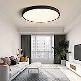 MOONSEA 24W LED Deckenleuchte Warmweiß 3500K Rund Modern Deckenlampe für küche Wohnzimmer Schlafzimmer Kinderzimmer, 40 * 40 * 5cm (Schwarz)