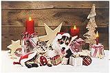 infactory Weihnachtsbilder: LED-Wandbild, Weihnachts-Tierbabys-Motiv, 3 Flacker-LEDs, 60 x 40 cm (LED Foto)