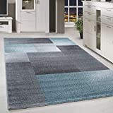 HomebyHome Kurzflor Design Teppich Rechteck Karo Muster Wohnzimmerteppich Grau Blau Meliert, Grösse:120x170 cm