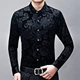 BUXIANGGAN T Shirts Hemd Mens Red Floral Dress Shirts Stilvolle Neue Slim Fit Langarm Chemise Homme Casual Social Wedding Party Chemise-Black_Asian_Size_XXL