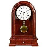 DINEGG High-End-Nordic-Mantel-Uhr, Kamin-Uhr mit Pendelschublade Schreibtisch-Takt-Stundenloch-Glockenholz-Retro-Mantel-Uhr-Uhrwerk-Laufwerk-Desktop-Uhren (Farbe: rot-braun) QQQNE
