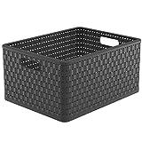 Rotho Country Aufbewahrungsbox 28l in Rattan-Optik, Kunststoff (PP) BPA-frei, anthrazit, A4+/28l (43,0 x 33,0 x 21,5 cm)