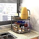 HomeMagic Küchenschrank-Organizer, 2 Etagen, Küchen Eckregal, Teller, Aufbewahrung, Dreieckiges Arbeitsplatte Topfregal Gewürzregal Multifunktionales Kücheneckregal