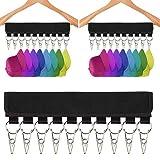 WENTS Kappenhalter 2PCS Hut Organizer Kleiderbügel Kappenorganizer mit 20 Clips tragbare Hutaufbewahrung Aufhänger für Baseballkappen Socken ideal für Reisen 12.6 inch Black