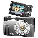Vnieetsr Digitalkamera, 1080P Full HD Fotokamera, 36,0 Megapixel 16X Zoom-Kompaktkamera mit 2,4 Zoll IPS-LCD-Bildschirmtaschenkamera für Kinder, Schüler, Jugendliche, Kinder, Anfänger Fotografie