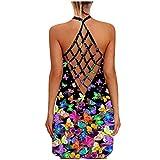Damen Fashion Sexy Sommer Ärmellos Offener Rücken Sonnenblume Schmetterling Gedruckt Rundhals Lose Camisole Hohl Kurzes Kleid