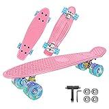 Skateboard Komplette, Penny Board 22 inch/55 cm Mini, Skateboard Kinder Retro mit ABEC-7 Kugellagern, LED-Lichträdern und All-In-One Skate T Tool, für Anfänger Kinder, Jugendliche-4 Kugellager (Rosa)