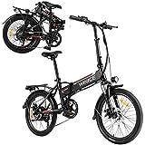 VIVI E-Bike Klapprad 20 Zoll Elektrofahrrad 250W Elektrisches Fahrrad mit 36V 8Ah Lithium-Batterie und Shimano 7-Gang (20 Zoll Schwarz)