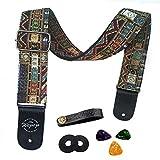 Gitarrengurt Vintager gesponnener Art-justierbarer akustischer elektrischer Gitarren-Baß-Bügel mit Lederenden, Plektren, Strap Bundle, Knopf