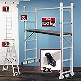 Fahrgerüst – klappbar, Aluminium, Plattform Sperrholz, Arbeitshöhe 300 cm, max. bis 150 kg belastbar, mit Geländer und Rollen - Arbeitsgerüst, Baugerüst, Multifunktionsleiter, Arbeitsbü