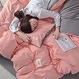 BettbezüGe Sets Einzel Doppel Einfarbig Ab-Gesicht Umkehrbar Polyester-Baumwolle Bettdecken Bezug Duvet Covers Mit Bettlaken Und 2X Kissenbezug 50X70Cm,L-Duvetcover:200X230CM