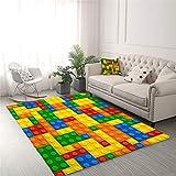 XKMY Wohnzimmer-Teppich mit Spielzeug-Aufdruck, für Kinder, Punkt-Bausteine, Teppiche für Schlafzimmer, Jungen, 3D-Teppich, bunte Steine, Spiel Wohnzimmer Teppich (Farbe: 1, Größe: 122 x 183 cm)