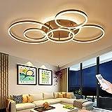 Deckenleuchte Flur Wohnzimmerlampe Modern LED 100W Dimmbar Deckenlampe Deko 6 Rund Ring Metall Acryl Design Pendelleuchte Küche Esszimmer Schlafzimmer Badezimmer Mit Fernbedienung Innenbe Kronleuchter