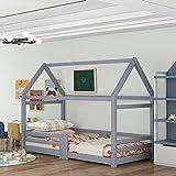Q-HL Bett Bettgestell Bettrahmen Holzbett Für Kinder Kinderhaus Bett Einschließlich Tischabfallschutz 90 X 200 cm - Grau