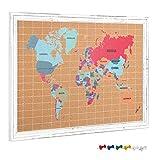 Navaris Kork Pinnwand Weltkarte Pintafel Karte - 60x90cm Pinwand Korkwand mit Rahmen Stecknadeln und Haken - Welt Landkarte Pin Board mit Pinnadeln