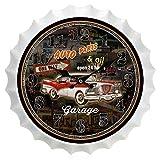 Z/A Retro Bierflasche Mütze Wanduhr, Größe 35 * 35 cm, Silent Für Wohnzimmer, Nostalgische Wanddekoration Uhr, Bars, Cafés Wanduhr,Schwarz