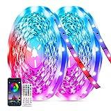 20M Bluetooth LED Strip Musik, Tasmor 5050 RGB LED Streifen 12V, von APP, IR-Fernbedienung und Controller Gesteuert LED Band, 2×10m LED Lichterkette mit 16 Millionen Farben, 28 Stilmodi, LED Lichtband