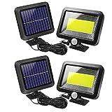 KK.BOL Solarleuchte für den Außenbereich, mit Bewegungsmelder, Sicherheitslicht für Garten, Trauf, Terrasse, Wege, Zaun, 100 COB, 2 Stück