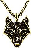 Einzigartige handgefertigt Antik Bronze Viking Wikinger Wolf Anhänger Halskette Antik Gold Kette