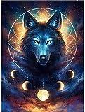POENOEN Wolf 5D Diamond Painting Bilder Set für Erwachsene, Tiere Groß Foto DIY Runde Steine Diamant Malerei Kits für Kinder/Weihnachten/Zuhause/Dekor (30x40cm)