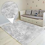 Amazinggirl Hochflor Teppich wohnzimmerteppich Langflor - Teppiche für Wohnzimmer flauschig Shaggy Schlafzimmer Bettvorleger Outdoor Carpet (200 x 300 cm, Hellgrau/Weiß)