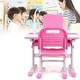 YiWon rosa Kinderschreibtisch und Stuhlbezug, Verstellbarer Kinderschreibtisch und Stuhl, mit Kinderschreiblampe, mit Leseständer, zum Lesen und Schreiben geeignet
