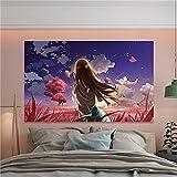 YYRAIN 3D-Druck Schöne Rosa Mädchen Wandteppich Blauer Drachen Wandteppich Wohnzimmer Schlafzimmer Wandteppich Hintergrund Wandteppich 78x59 Inch {200x150cm}