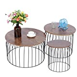 FTVOGUE- 3Pcs Rund Couchtische Sofatisch Nachttisch Kaffeetisch für Wohnzimmer, Schlafzimmer, Nesting