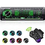 CENXINY Autoradio mit Bluetooth Freisprecheinrichtung, 7 Farben Licht Einstellbar 1 Din Autoradio Bluetooth mit USB*2/AUX/TF, MP3 Player/FM Autoradio Radio mit Bass