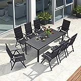 PURPLE LEAF Aluminium Sitzgarnitur 8+1 Sitzgruppe Gartenmöbel Tisch & Stuhl-Set, 5-Fach verstellbare Hochlehner Stühle, Klappstuhl, Terrassen, Hinterhöfe, Schw