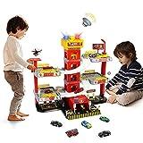 Parkgarage Cars Spielzeug Parkhaus für Kinder 69 Stück+ Spielzeugset Feuerwehrparkplatz mit Spielzeugauto, Hubschrauber und Landebahn Geschenk für Kinder 3 4 5 6 7 8 Jahre Mädchen Junge