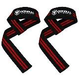 Iron Bull Strength Profi Zughilfen [Lifting Straps] - Hebebänder (1 Paar) - Gepolsterte Wrist Support Wraps – Für Fitness, Powerlifting, Krafttraining (Schwarz/Rot)