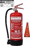 6 L Schaum Feuerlöscher Brandklasse AB DIN EN 3 + GS, Manometer, Wandhalter, Messingarmatur Sicherheitsventil, Standfuß, Schaumlöscher (Mit Prüfnachweis u. Jahresmarke)