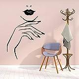 Nagel Wandaufkleber Wand Salon Poster Schöne Frau Wandtattoos für Schlafzimmer Beauty Salon Aufkleber Wallpaper Aufkleber A1 43x61cm