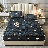 YFGY BettwäSche Einzelbett Double 150 * 200cm, Spannbetttuch und Kissenbezug Gedruckt Cool Summer, Matratzenschoner für Schlafzimmer Apartment schwarz 2PCS