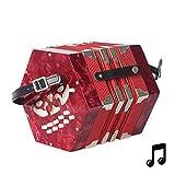 Lesgos 20 Knopfakkordeons Akkordeon, Tragbares Professionelles Konzertina Instrument mit Tragetasche, Besonderes Geschenk für Kinder Musikbegeisterte Anfäng