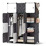 HOMIDEC Kleiderschrank, Tragbarer Regalsystem, 12 Würfel Schrank aus Kunststoff mit 2 Kleiderstange, Schlafzimmerschrank kleiderschrank Weiss für Schlafzimmer, 146 x 107 x 46cm